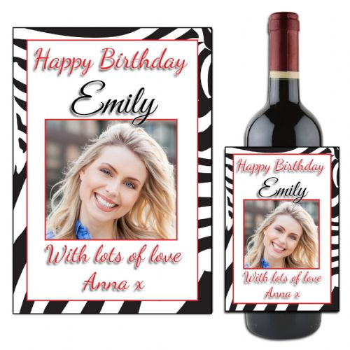 Personalised Happy Birthday Wine / Champagne Bottle PHOTO Label N5